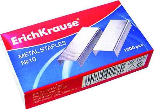 Скобы Erich Krause №10 для степлера стальные никелированные 1000 штук