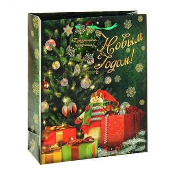 Пакет для подарков бумажный Новогодний 15*12*6 см артикул 10444320, код 095131