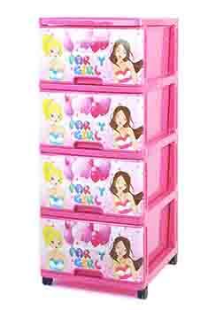 Комод пластмассовый детский с 4- мя выдвижными ящиками игровой 51*40*100 см артикул 04030, код 104444