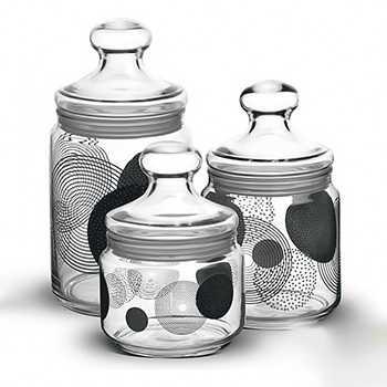 Набор банок для сыпучих продуктов Luminarc Constellation black 3 штуки