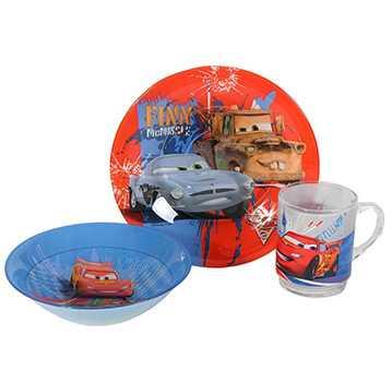 Набор для завтрака стеклянный детский Luminarc Disney Cars 3 предмета