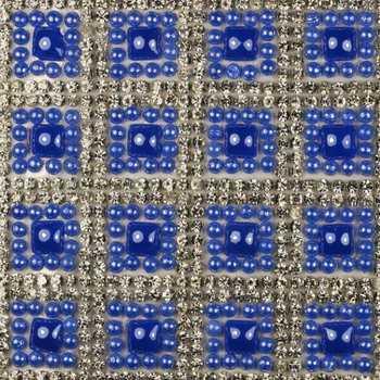 Стразы клеевые на листах цвет серебро+василек артикул 48077
