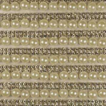 Стразы клеевые на листах цвет серебро+жемчуг артикул 48076
