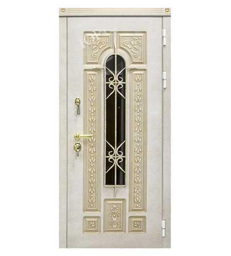 Входные металлические двери ЮрСталь модель Лацио Белая цвет Слоновая кость