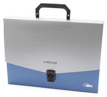 Портфель пластиковый Forpus 320×240×40 мм, серебристый с синим