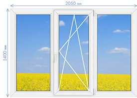 Окна ПВХ профильная система Proplex Optima 1400х2050мм