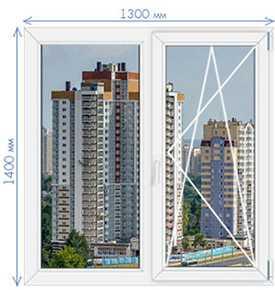 Пятикамерные окна из пвх KBE System 70 1400х1300