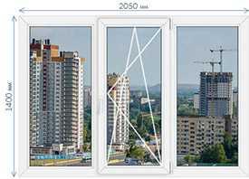 Пятикамерные окна из пвх KBE System 70 1400х2050