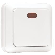 Выключатель одноклавишный с индикатором 10А белый Рим EKF