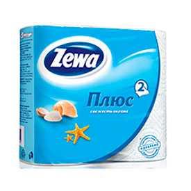 Туалетная бумага двухслойная 'Zewa Плюс' 4 рулона в пачке