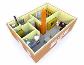 Готовый проект. Одноэтажный дом с печным отоплением, 1+1. 50 м.кв.