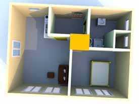 Готовый проект. Одноэтажный дом с печным отоплением, 1+1. 43 м.кв.