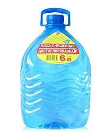 Вода очищенная дистиллированная 6 л - ВЗБН (Беларусь)