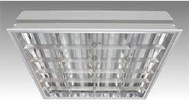 Люминесцентный офисный встраиваемый светильник 'Грильято' ЛВО 4х18-CSVT/GR 588 х 588 (для потолка)