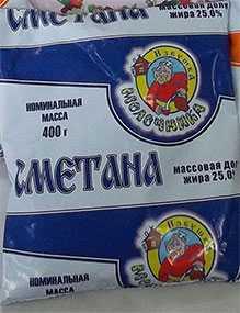 Сметана 25 % фасованная в пленку 0,4 кг - ТМ Избушка молочника
