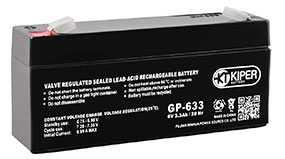Аккумуляторная батарея 6V/3.3Ah Kiper GP-633 S (F1); 123x60x34 (ШхВхГ)-Kiper (Китай)