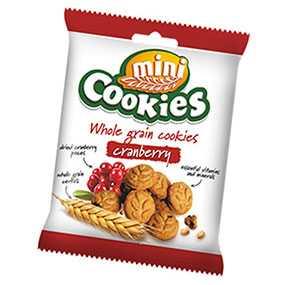 Печенье зерновое Mini Cookies с кусочками клюквы 40 г