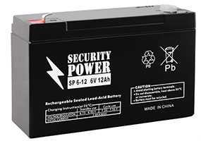 Аккумуляторная батарея 6V/12Ah Security Power SP 6-12 (F1); 151x94x50 (ШхВхГ)-Security Power (Китай)