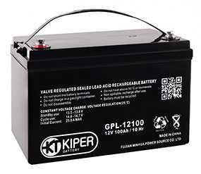 Аккумуляторная батарея 12V/100Ah Kiper GPL-121000; 330x217x171 (ШхВхГ)-Kiper (Китай)
