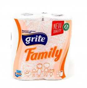 Полотенца бумажные кухонные рулонные Grite Family (2 шт/упак.), Grigeo Grigiskes (Литва)