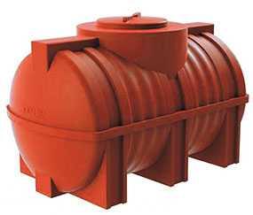 Емкость G 500 литров пластиковая горизонтальная цилиндрическая красная