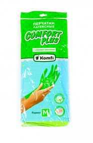 Перчатки хозяйственные латексные с хлопковым напылением Komfi Comfort Plus, размер M