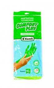 Перчатки хозяйственные латексные с хлопковым напылением Komfi Comfort Plus, размер XL