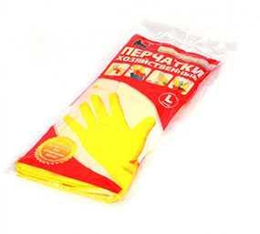Перчатки хозяйственные латексные A.D.M. (АДМ), желтые, размер L
