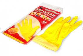 Перчатки хозяйственные латексные A.D.M. (АДМ), желтые, размер M