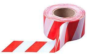Лента оградительная сигнальная красно-белая, 75мм х 50мкн х 100м - ИТЕРАПЛАСТ БАЛТИК (Беларусь)