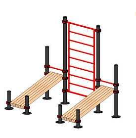 Оборудование для Воркаута Шведская стенка с двумя скамейками для пресса ВКТ 111