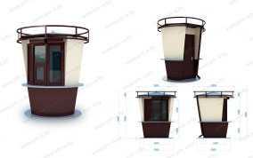 Торговый киоск КОФЕ-СТАКАН (d=2 м; h=2,9 м; D=2,5 м) из сэндвич панелей - ПУХОВИЧИМЕТАЛЛСТРОЙ (Беларусь)