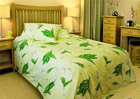 Ткань постельная Бязь Ландыши (01) 2,2м - Блакит(Барановичи)