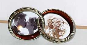 Рамка для фото металлическая декоративная CK-493 2XO-BR, свадебная, POLDOM (Китай)