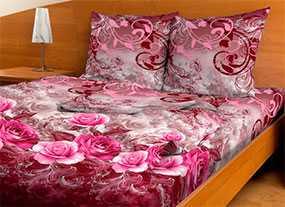 Ткань постельная Бязь набивная Миланья 2,2м - Красная Талка (Россия)