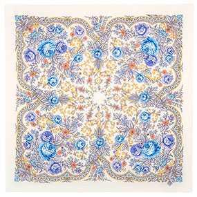 Платок шерстяной с осыпкой (оверлоком) Светлая Надежда вид 2, 72х72 см - Павловопосадская платочная мануфактура (Россия)