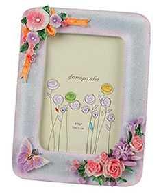 Рамка для фото керамическая Цветы, арт.244В, 10*15 см, Noname (Китай)