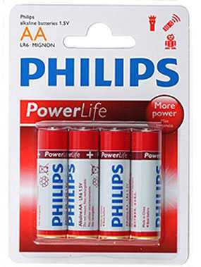 Батарейка Philips LR6-4BL POWERLIFE, тип АА, Philips (Китай)