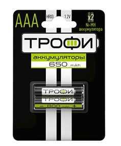 Аккумулятор Трофи HR03-2BL. 650mAh. тип ААА, Трофи (Китай)