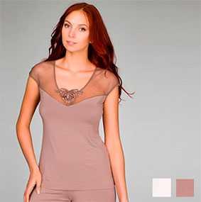 Фуфайка женская пижамная арт. 8238, трикотажная коллекция Нежное прикосновение - Джимил