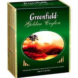 Чай черный пакетированный 'GREENFIELD' Голден Цейлон, 100 пак./упак -GREENFIELD (Россия)