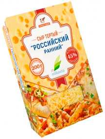 Сыр полутвердый 'Российский ранний' м.д.ж. 45% тертый
