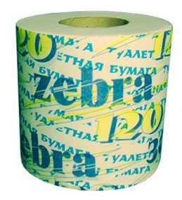 Бумага туалетная Zebra 120 (вторсырье) - ПОЛОЦКАЯ БУМАЖНАЯ КОМПАНИЯ