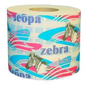 Бумага туалетная Zebra Люкс (целлюлоза) - ПОЛОЦКАЯ БУМАЖНАЯ КОМПАНИЯ