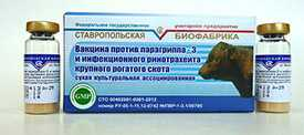 Вакцина против парагриппа-3 и инфекционного ринотрахеита (ПГ-3 и ИРТ), фл. 25 доз - Ставропольская биофабрика