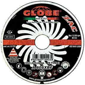 Круг абразивный отрезной GLOBE ZAC 125x1,3x22.2 A60SX - Globe (Италия)