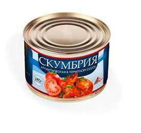 Скумбрия атлантическая КРЕОН в томатном соусе, 240 гр - БАЛТФИШТРЕЙД