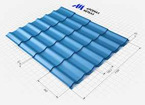 Металлочерепица МОНТЕРРЕЙ (высота=24 мм, шаг волны=350 мм) - АРСЕНАЛМЕТАЛЛ