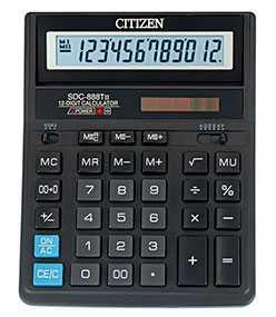 Калькулятор бухгалтерский Citizen SDC-888TII, 12 разрядов - CITIZEN