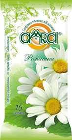 Салфетки влажные AMRA освежающие с ароматом Ромашки, 15 шт - AMRA (Россия)